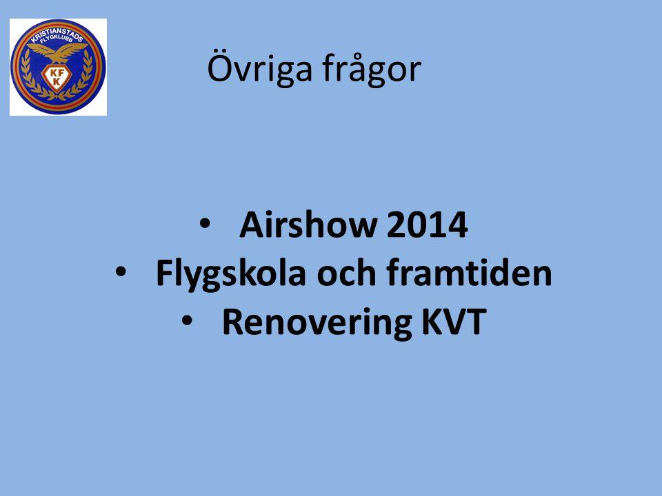 Övriga frågor • Airshow 2014 • Flygskola och framtiden • Renovering KVT