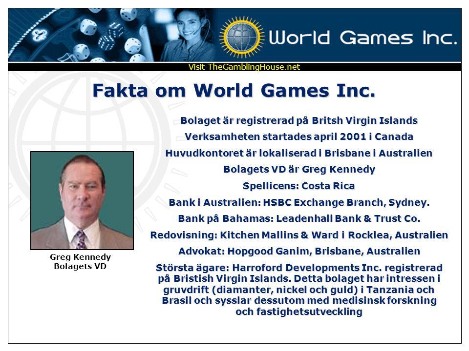 AKTIEHANDEL * SPEL * AFFÄRER WORLD GAMES INC I samarbete med som Independent Distributor Visit TheGamblingHouse.net