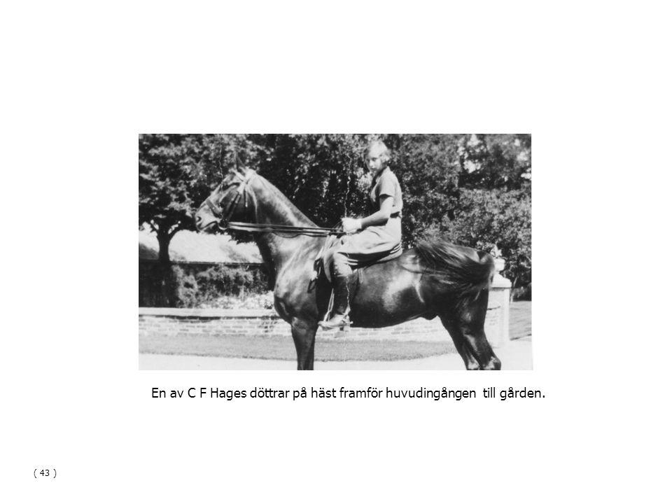 En av C F Hages döttrar på häst framför huvudingången till gården. ( 43 )