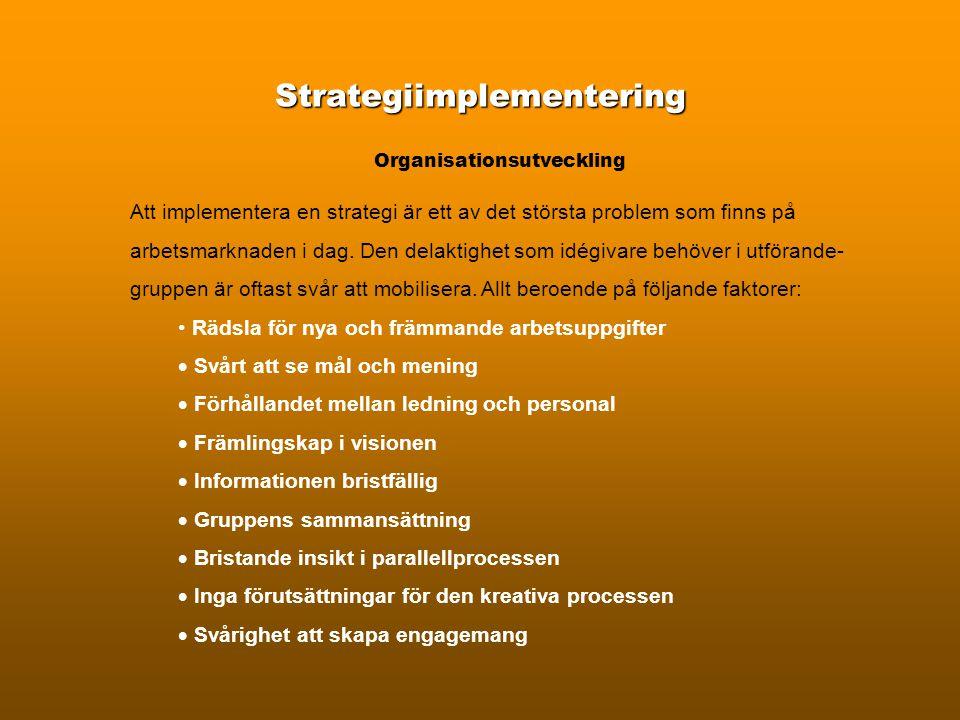 Strategiimplementering Organisationsutveckling Att implementera en strategi är ett av det största problem som finns på arbetsmarknaden i dag.
