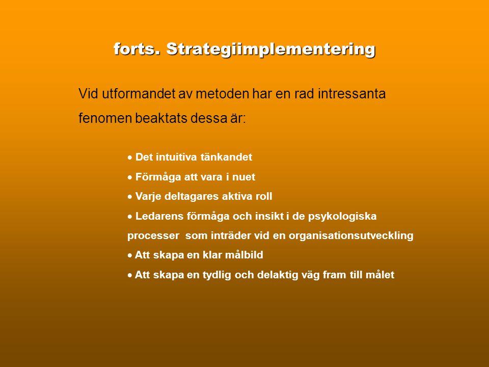 Strategiimplementering Organisationsutveckling Att implementera en strategi är ett av det största problem som finns på arbetsmarknaden i dag. Den dela