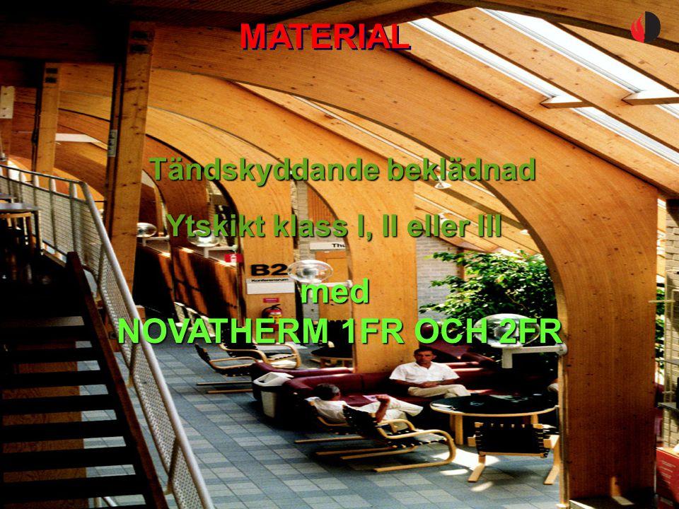 YTSKIKT OCH BEKLÄDNAD Br1 och Br2, utrymningsvägar Br3, utrymningsvägar i hotell och vårdanläggningar Takytor och väggytor: Ytskikt klass B-s1,d0 (klass I) på material av A2-s1,d0 (obrännbart material) eller tändskyddande beklädnad Väggytor: Ytskikt klass C-s2,d0 (klass II) på material av A2-s1,d0 (obrännbart material) eller tändskyddande beklädnad Takytor: Ytskikt klass B-s1,d0 (klass I) på material av A2-s1,d0 (obrännbart material) eller tändskyddande beklädnad