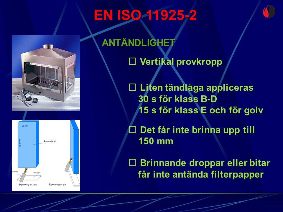 EN ISO 11925-2 ANTÄNDLIGHET  Vertikal provkropp  Liten tändlåga appliceras 30 s för klass B-D 30 s för klass B-D 15 s för klass E och för golv 15 s