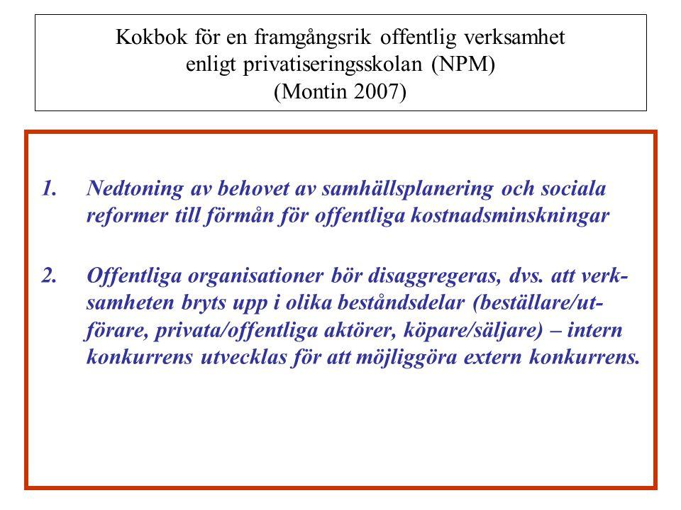 Kokbok för en framgångsrik offentlig verksamhet enligt privatiseringsskolan (NPM) (Montin 2007) 3.En förskjutning sker från politik till ledarskap – en avpolitisering där antalet politiker och nämnder minskas och där cheferna blir ledare eller coach.