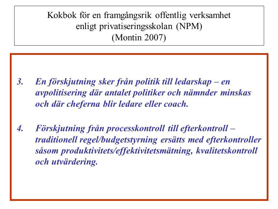 Kokbok för en framgångsrik offentlig verksamhet enligt privatiseringsskolan (NPM) (Montin 2007) 5.Betoning av medborgarnas individuella rättigheter – medborgarnas individuella rätt att välja mellan olika serviceproducenter  Den bärande principen är att marknad och konkurrens leder till ökad effektivitet och kvalitet och att enskilda aktörer är rationella i betydelsen att de i första hand ser till sitt egenintresse (Montin 2007, s.
