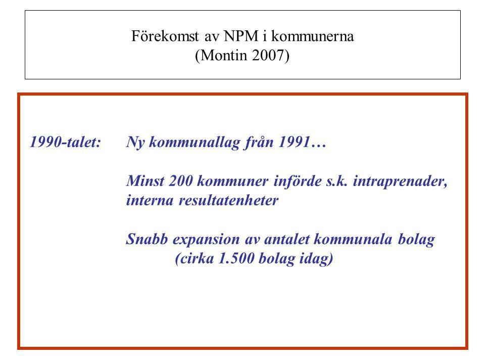 Förekomst av NPM i kommunerna (Montin 2007) 1990-talet:Ny kommunallag från 1991… Minst 200 kommuner införde s.k. intraprenader, interna resultatenhete