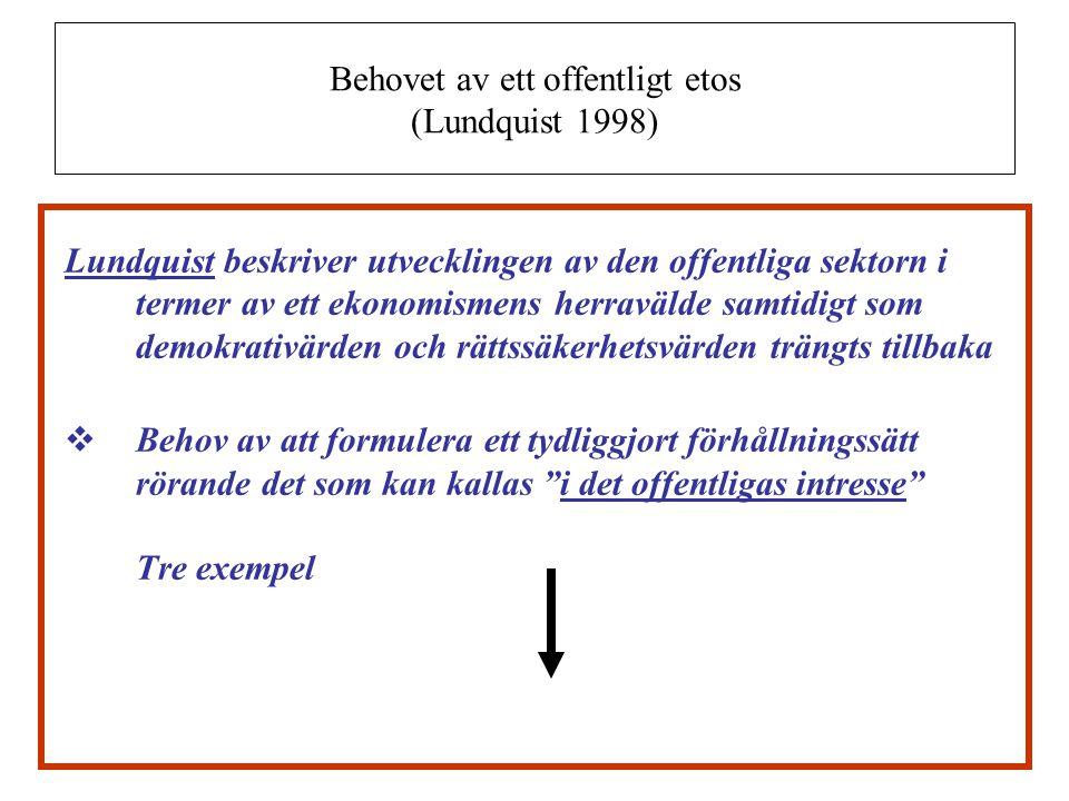 Behovet av ett offentligt etos (Lundquist 1998) Lundquist beskriver utvecklingen av den offentliga sektorn i termer av ett ekonomismens herravälde sam