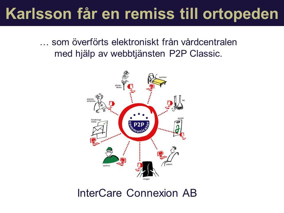 P2P Classic InterCare Connexion AB … som överförts elektroniskt från vårdcentralen med hjälp av webbtjänsten P2P Classic.