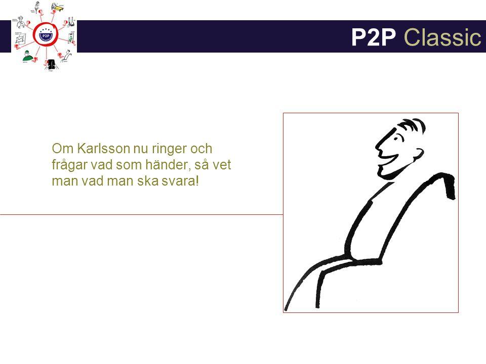 Om Karlsson nu ringer och frågar vad som händer, så vet man vad man ska svara! P2P Classic