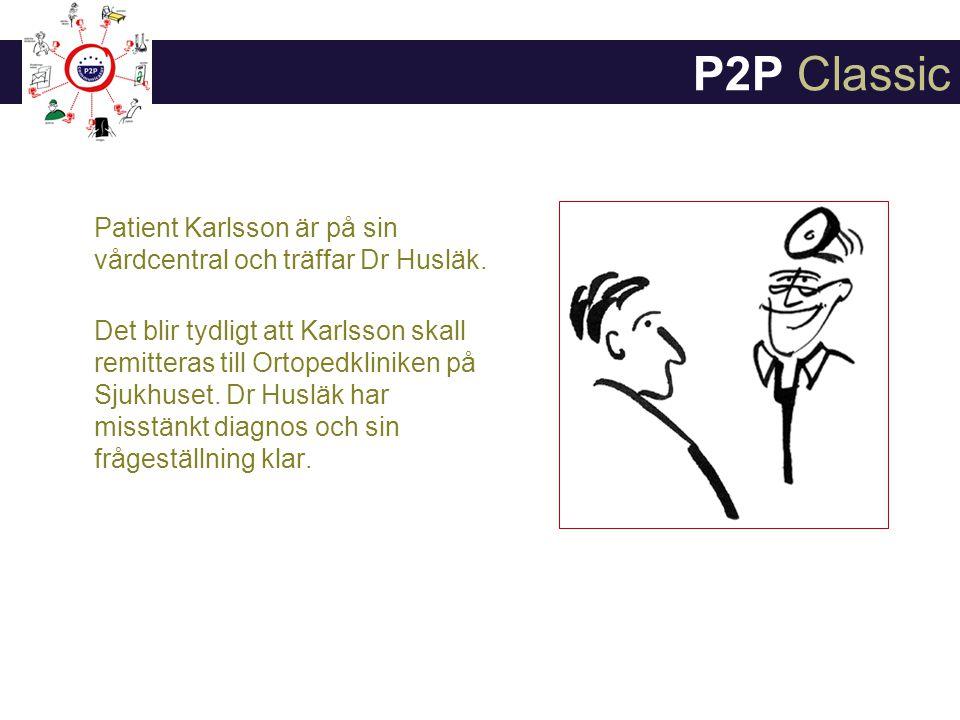 Patient Karlsson är på sin vårdcentral och träffar Dr Husläk.