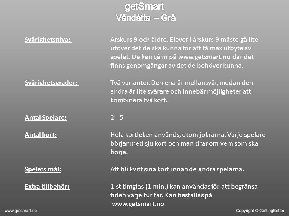 Svårighetsnivå: Svårighetsgrader: Antal Spelare: Antal kort: Spelets mål: Extra tillbehör: Årskurs 9 och äldre.