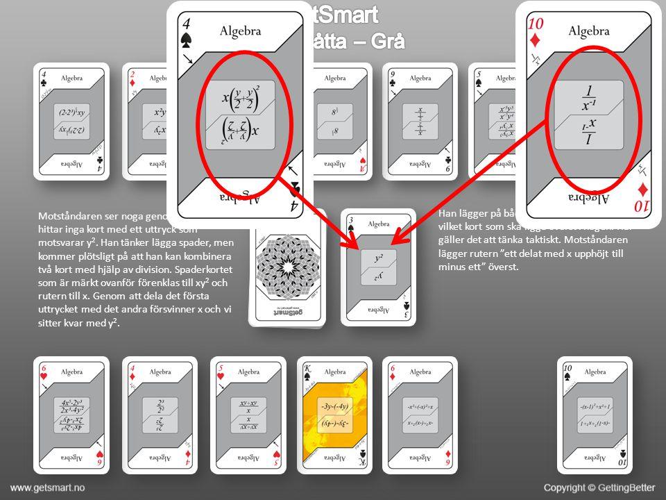 Motståndaren ser noga genom sina kort och hittar inga kort med ett uttryck som motsvarar y 2.