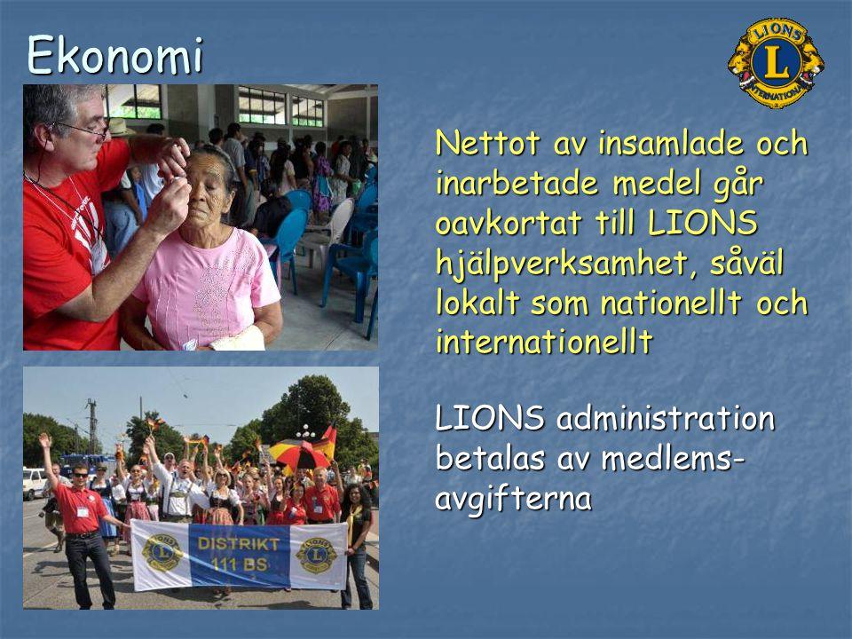 Ekonomi LIONS administration betalas av medlems- avgifterna Nettot av insamlade och inarbetade medel går oavkortat till LIONS hjälpverksamhet, såväl l