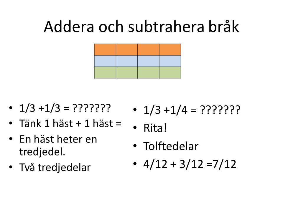 Addera och subtrahera bråk • 1/3 +1/3 = ??????? • Tänk 1 häst + 1 häst = • En häst heter en tredjedel. • Två tredjedelar • 1/3 +1/4 = ??????? • Rita!