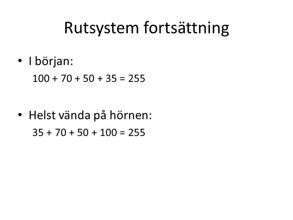 Rutsystem fortsättning • I början: 100 + 70 + 50 + 35 = 255 • Helst vända på hörnen: 35 + 70 + 50 + 100 = 255