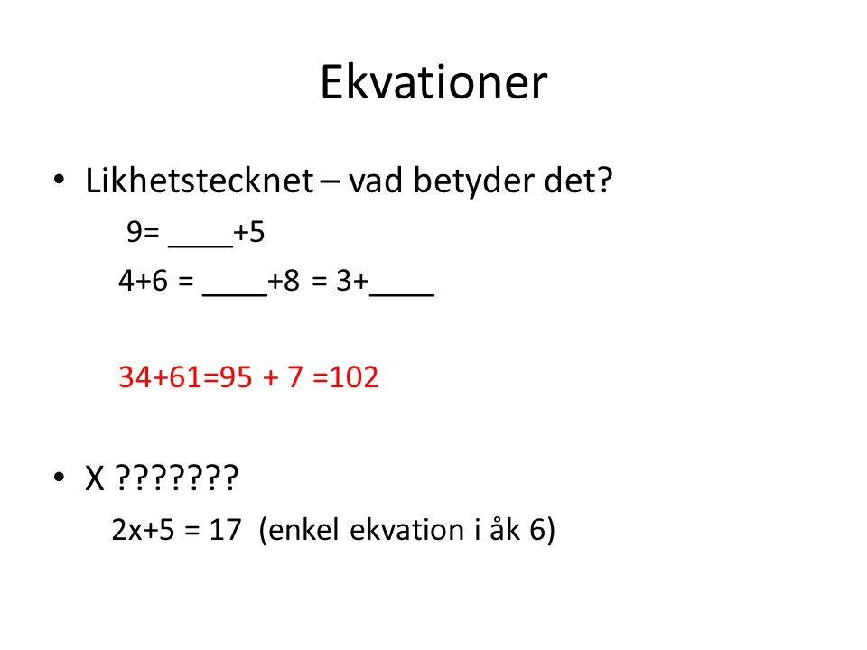 Ekvationer • Likhetstecknet – vad betyder det? 9= ____+5 4+6 = ____+8 = 3+____ 34+61=95 + 7 =102 • X ??????? 2x+5 = 17 (enkel ekvation i åk 6)