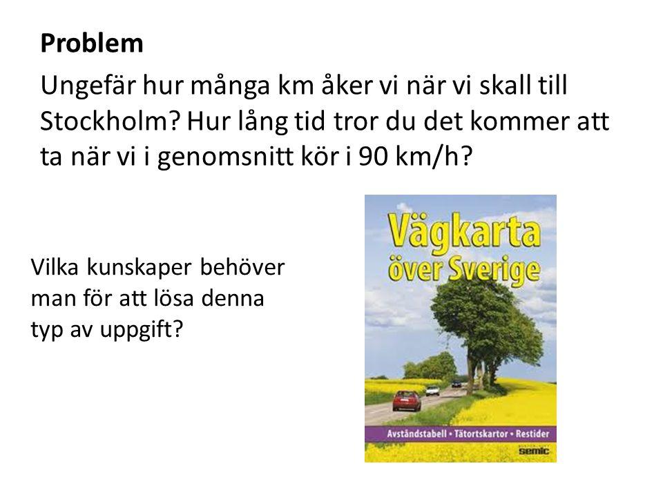 Problem Ungefär hur många km åker vi när vi skall till Stockholm? Hur lång tid tror du det kommer att ta när vi i genomsnitt kör i 90 km/h? Vilka kuns