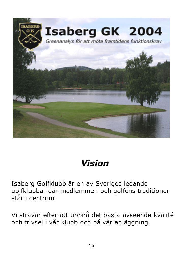 15 Vision Isaberg Golfklubb är en av Sveriges ledande golfklubbar där medlemmen och golfens traditioner står i centrum. Vi strävar efter att uppnå det