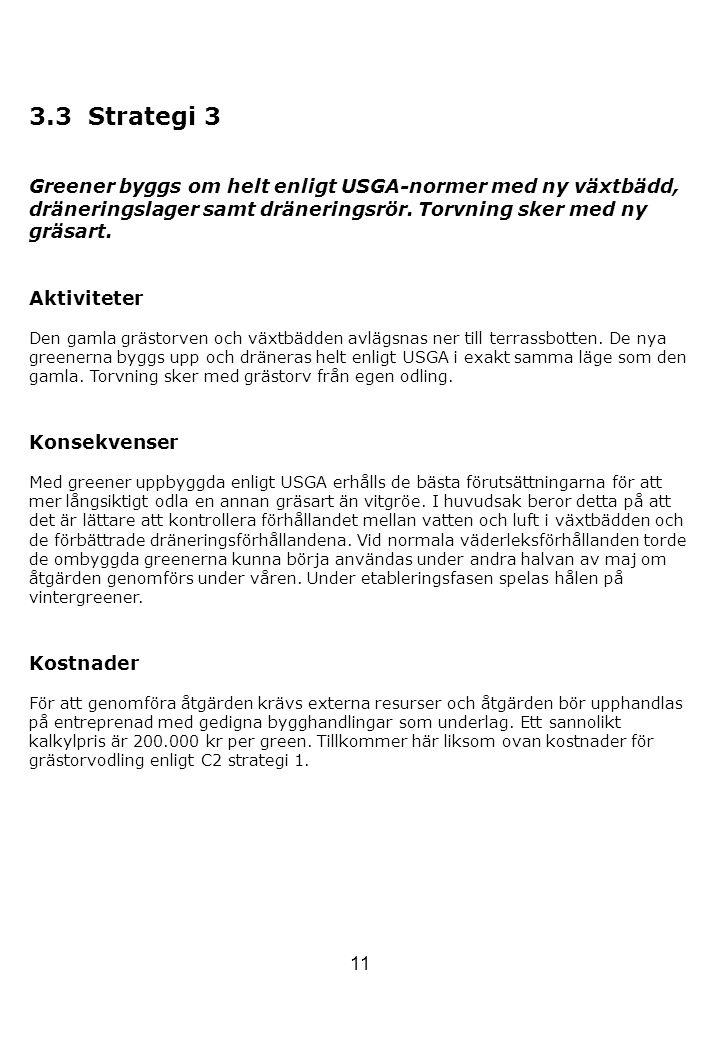 11 3.3 Strategi 3 Greener byggs om helt enligt USGA-normer med ny växtbädd, dräneringslager samt dräneringsrör. Torvning sker med ny gräsart. Aktivite