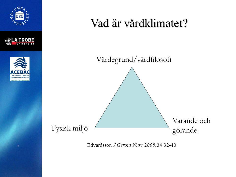 Vad är vårdklimatet? Värdegrund/vårdfilosofi Fysisk miljö Varande och görande Edvardsson J Geront Nurs 2008;34:32-40