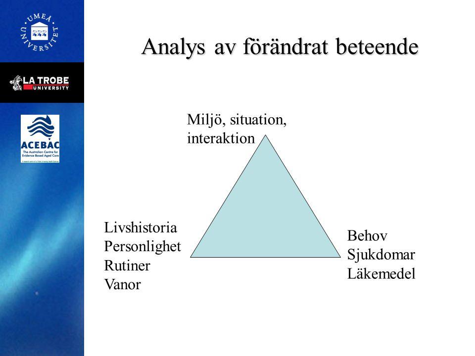 Analys av förändrat beteende Miljö, situation, interaktion Livshistoria Personlighet Rutiner Vanor Behov Sjukdomar Läkemedel