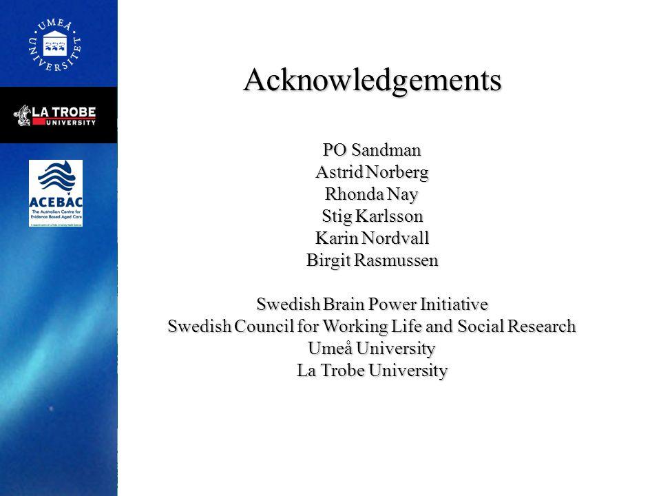 Acknowledgements PO Sandman Astrid Norberg Rhonda Nay Stig Karlsson Karin Nordvall Birgit Rasmussen Swedish Brain Power Initiative Swedish Council for
