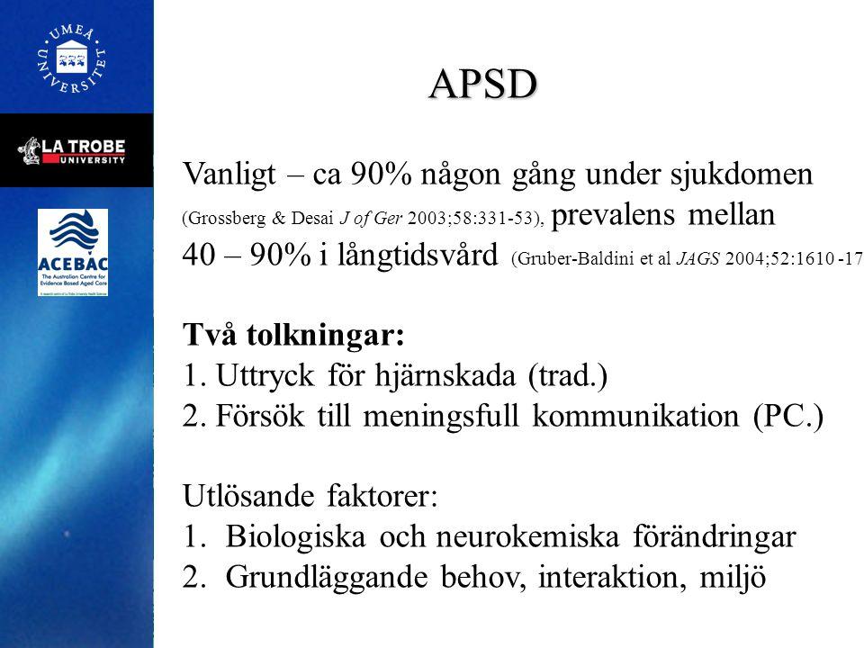APSD Vanligt – ca 90% någon gång under sjukdomen (Grossberg & Desai J of Ger 2003;58:331-53), prevalens mellan 40 – 90% i långtidsvård (Gruber-Baldini