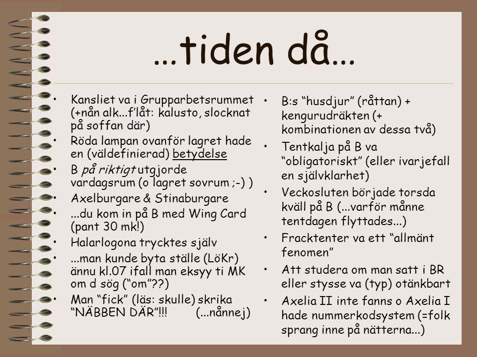…tiden då… •Kansliet va i Grupparbetsrummet (+nån alk...f'låt: kalusto, slocknat på soffan där) •Röda lampan ovanför lagret hade en (väldefinierad) betydelse •B på riktigt utgjorde vardagsrum (o lagret sovrum ;-) ) •Axelburgare & Stinaburgare •...du kom in på B med Wing Card (pant 30 mk!) •Halarlogona trycktes själv •...man kunde byta ställe (LöKr) ännu kl.07 ifall man eksyy ti MK om d sög ( om ??) •Man fick (läs: skulle) skrika NÄBBEN DÄR !!.