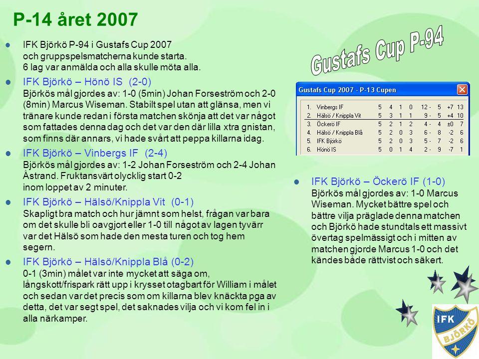  IFK Björkö P-94 i Gustafs Cup 2007 och gruppspelsmatcherna kunde starta. 6 lag var anmälda och alla skulle möta alla.  IFK Björkö – Hönö IS (2-0) B