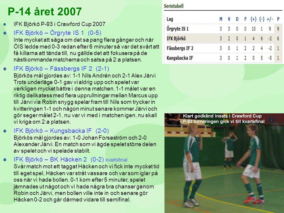  IFK Björkö P-93 i Crawford Cup 2007  IFK Björkö – Örgryte IS 1 (0-5) Inte mycket att säga om det sa pang flera gånger och när ÖIS ledde med 0-3 red