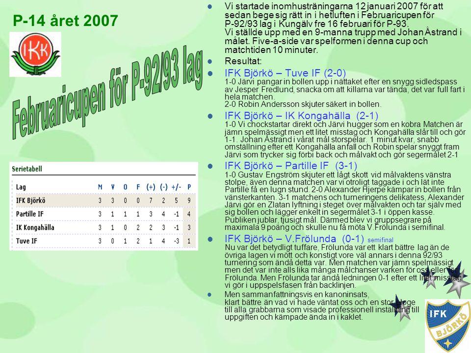 P-14 året 2007  Vi startade inomhusträningarna 12 januari 2007 för att sedan bege sig rätt in i hetluften i Februaricupen för P-92/93 lag i Kungälv f