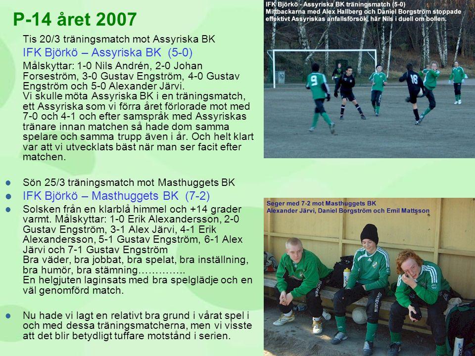 Tis 20/3 träningsmatch mot Assyriska BK IFK Björkö – Assyriska BK (5-0) Målskyttar: 1-0 Nils Andrén, 2-0 Johan Forseström, 3-0 Gustav Engström, 4-0 Gu