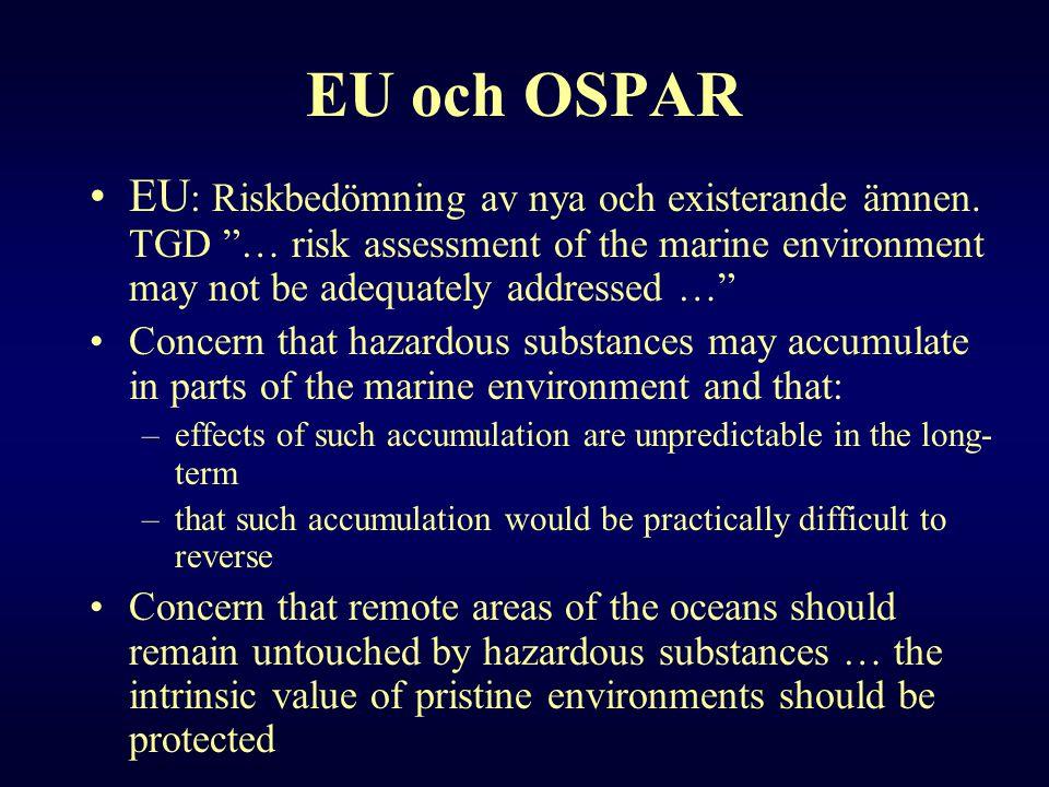 """EU och OSPAR •EU : Riskbedömning av nya och existerande ämnen. TGD """"… risk assessment of the marine environment may not be adequately addressed …"""" •Co"""
