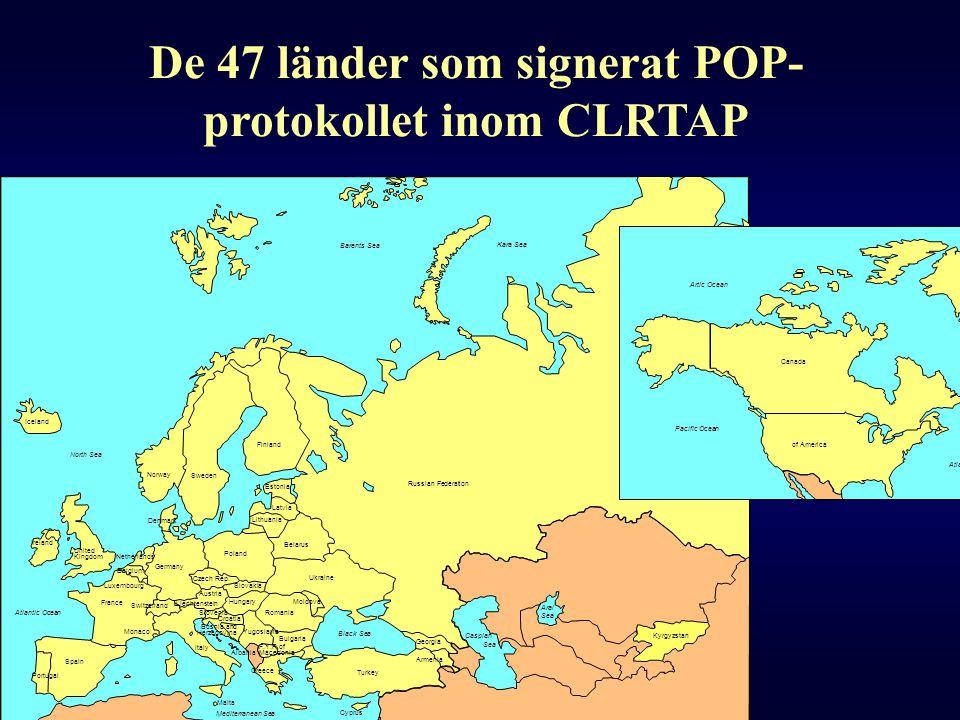 De 47 länder som signerat POP- protokollet inom CLRTAP Artic Ocean Atlantic Ocean Pacific Ocean Slovenia Hungary Slovakia Poland Lithuania Latvia Esto