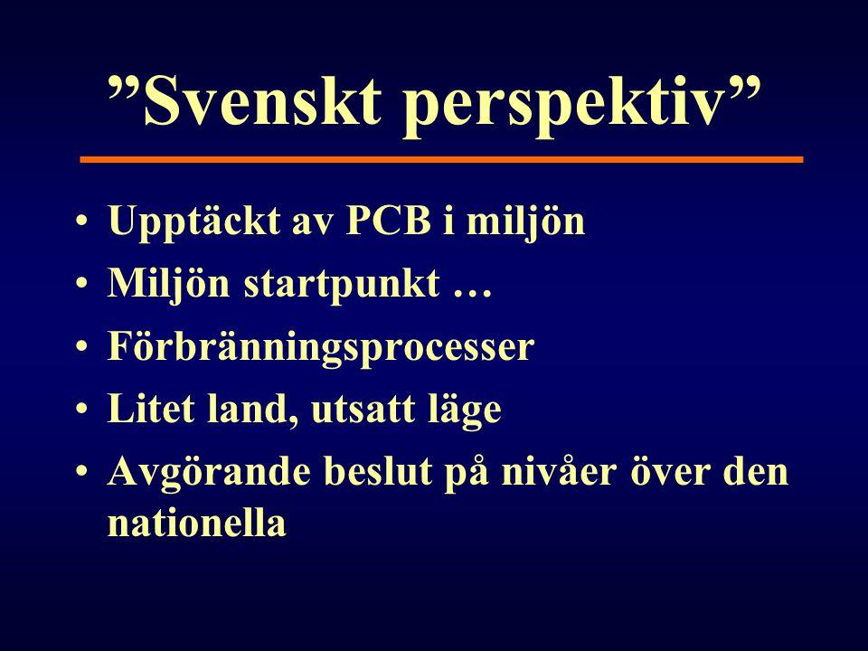"""""""Svenskt perspektiv"""" •Upptäckt av PCB i miljön •Miljön startpunkt … •Förbränningsprocesser •Litet land, utsatt läge •Avgörande beslut på nivåer över d"""