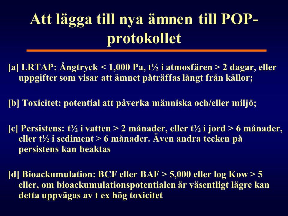 Att lägga till nya ämnen till POP- protokollet [a] LRTAP: Ångtryck 2 dagar, eller uppgifter som visar att ämnet påträffas långt från källor; [b] Toxic