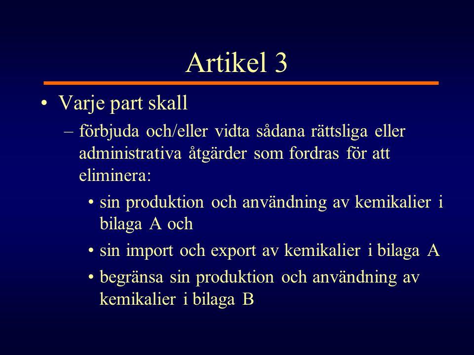 Artikel 3 •Varje part skall –förbjuda och/eller vidta sådana rättsliga eller administrativa åtgärder som fordras för att eliminera: •sin produktion oc