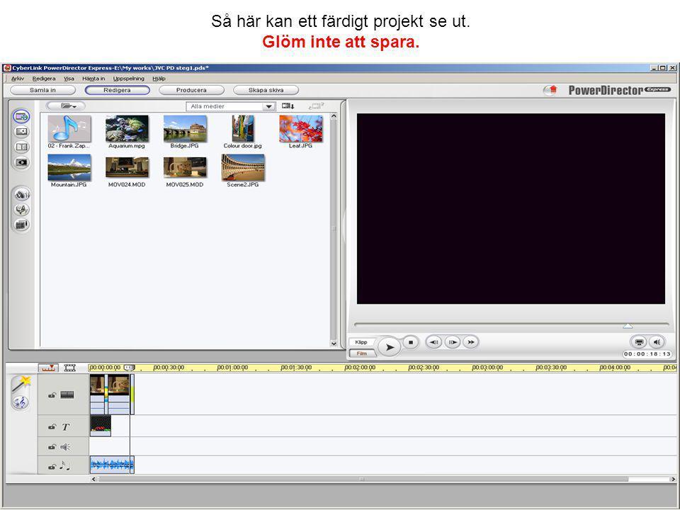 Nästa steg blir att producera filmen. Markera skapa en fil och tryck på nästa. Producera