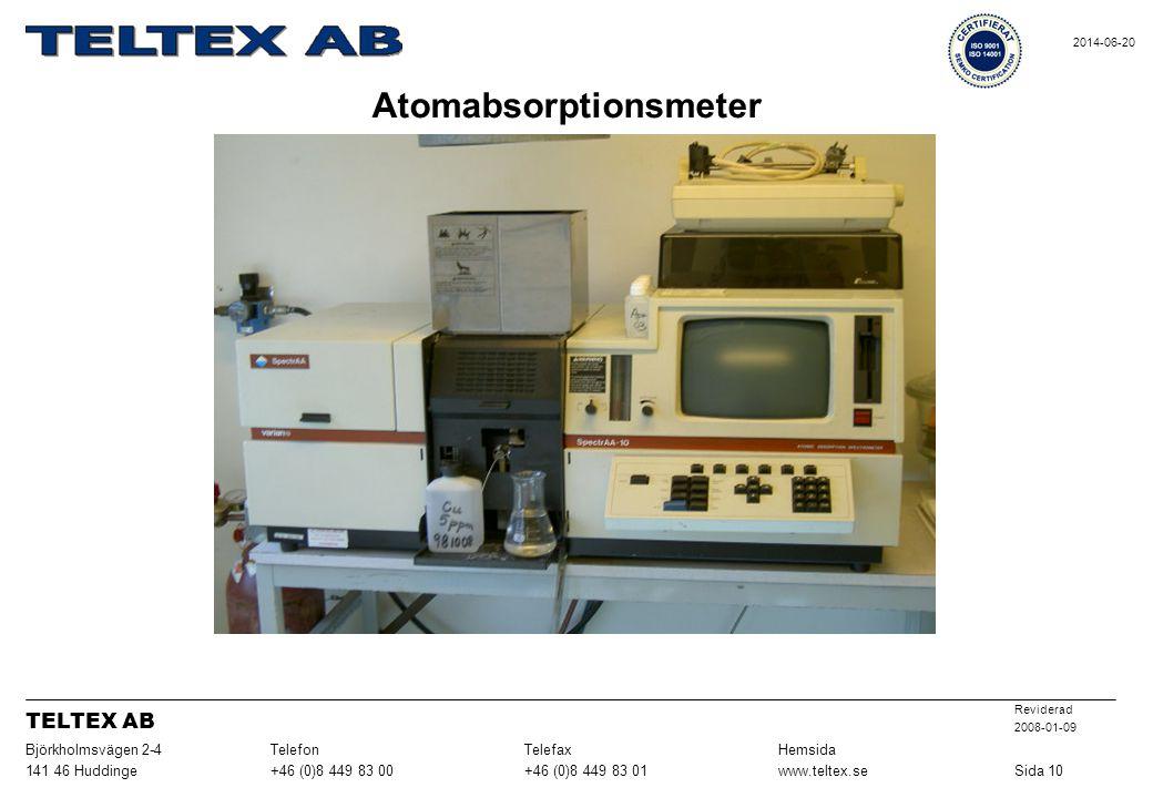Atomabsorptionsmeter Sida 10www.teltex.se+46 (0)8 449 83 01+46 (0)8 449 83 00141 46 Huddinge HemsidaTelefaxTelefonBjörkholmsvägen 2-4 Reviderad 2008-0
