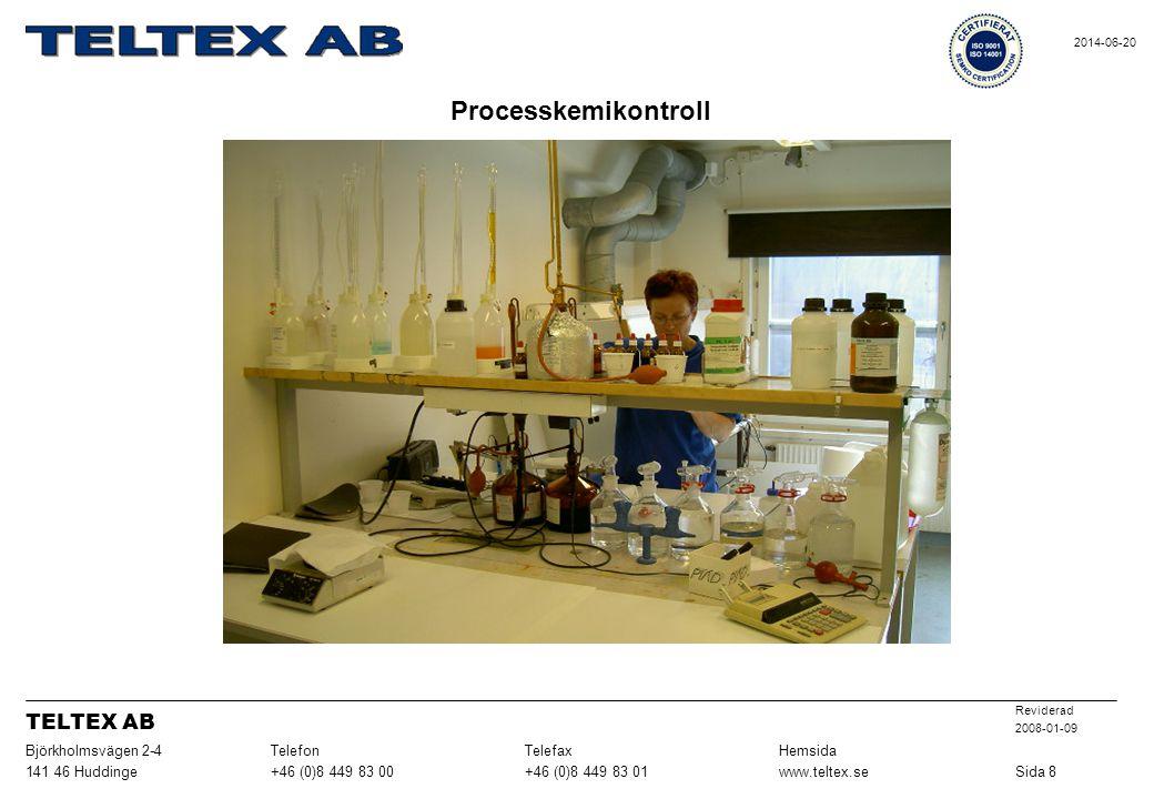 Processkemikontroll Sida 8www.teltex.se+46 (0)8 449 83 01+46 (0)8 449 83 00141 46 Huddinge HemsidaTelefaxTelefonBjörkholmsvägen 2-4 Reviderad 2008-01-