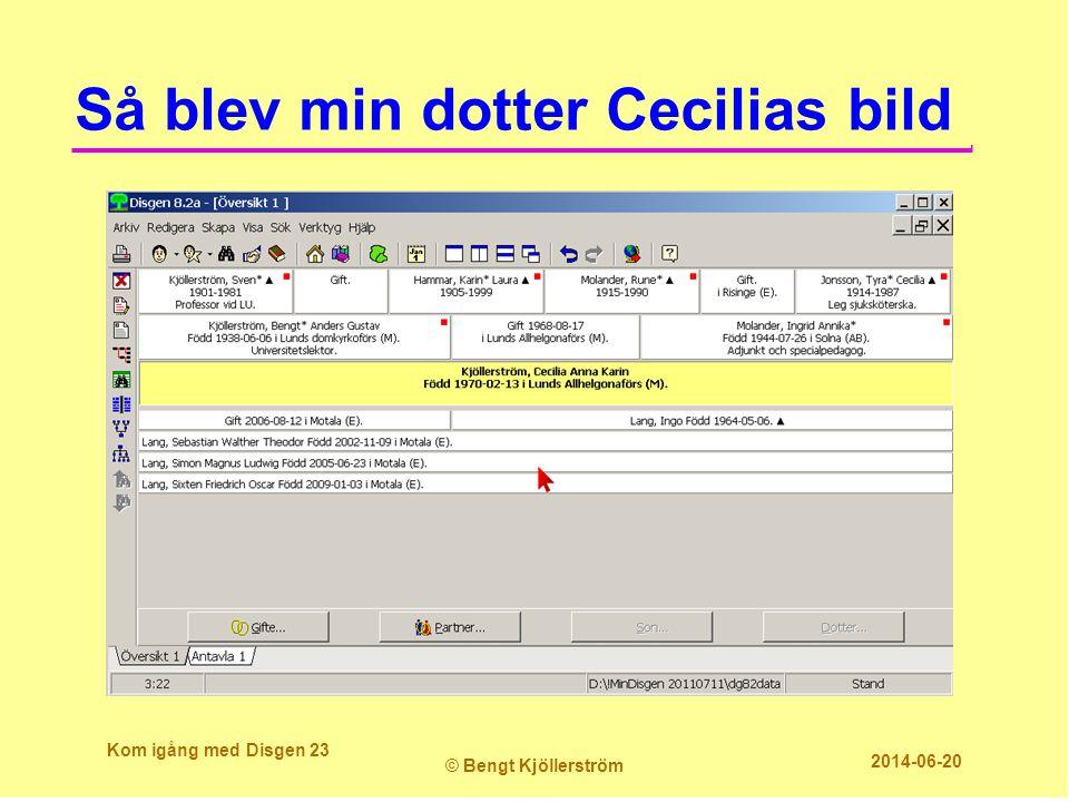 Så blev min dotter Cecilias bild Kom igång med Disgen 23 © Bengt Kjöllerström 2014-06-20