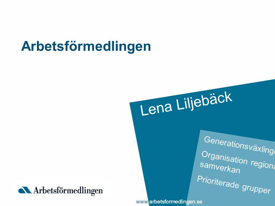 Arbetsförmedlingen Lena Liljebäck Generationsväxlingen Organisation regional samverkan Prioriterade grupper www.arbetsformedlingen.se
