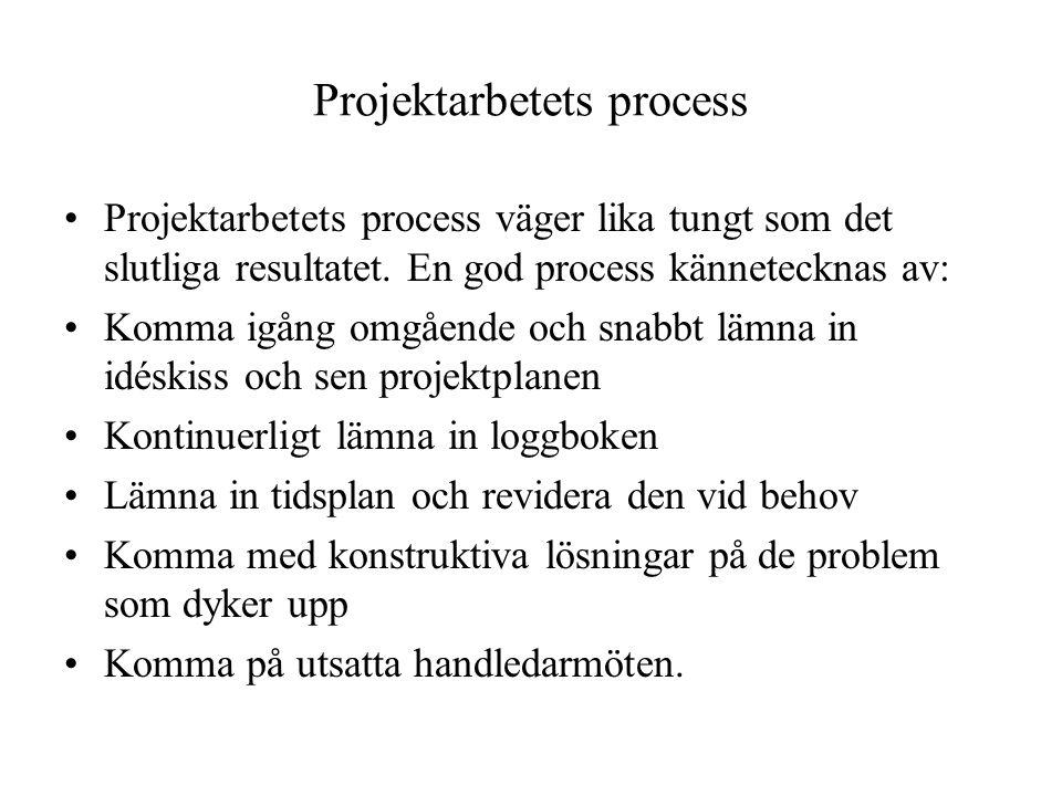 Projektarbetets process •Projektarbetets process väger lika tungt som det slutliga resultatet. En god process kännetecknas av: •Komma igång omgående o