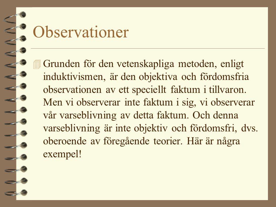 Observationer 4 Grunden för den vetenskapliga metoden, enligt induktivismen, är den objektiva och fördomsfria observationen av ett speciellt faktum i