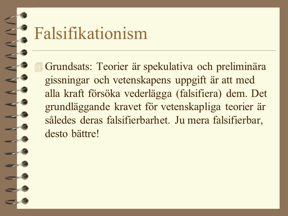 Falsifikationism 4 Grundsats: Teorier är spekulativa och preliminära gissningar och vetenskapens uppgift är att med alla kraft försöka vederlägga (fal