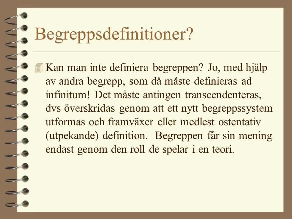 Begreppsdefinitioner? 4 Kan man inte definiera begreppen? Jo, med hjälp av andra begrepp, som då måste definieras ad infinitum! Det måste antingen tra