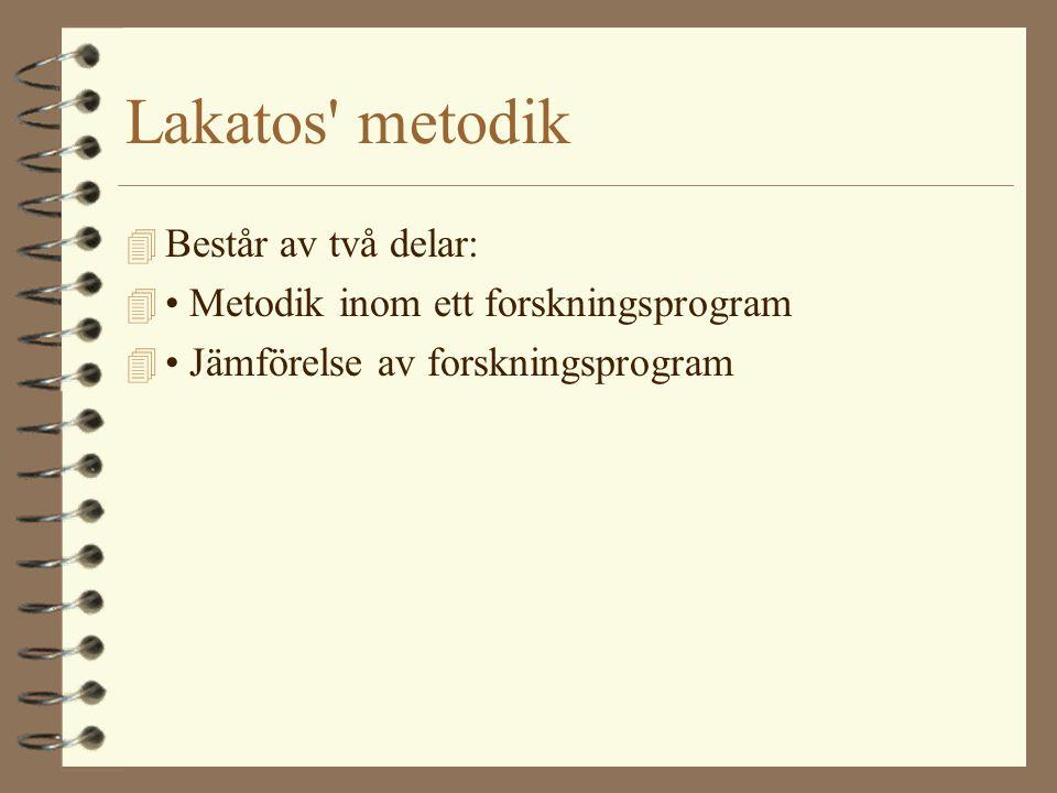 Lakatos' metodik 4 Består av två delar: 4 • Metodik inom ett forskningsprogram 4 • Jämförelse av forskningsprogram