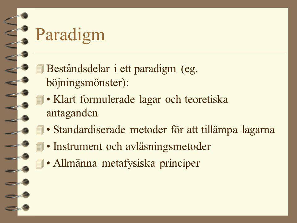 Paradigm 4 Beståndsdelar i ett paradigm (eg. böjningsmönster): 4 • Klart formulerade lagar och teoretiska antaganden 4 • Standardiserade metoder för a