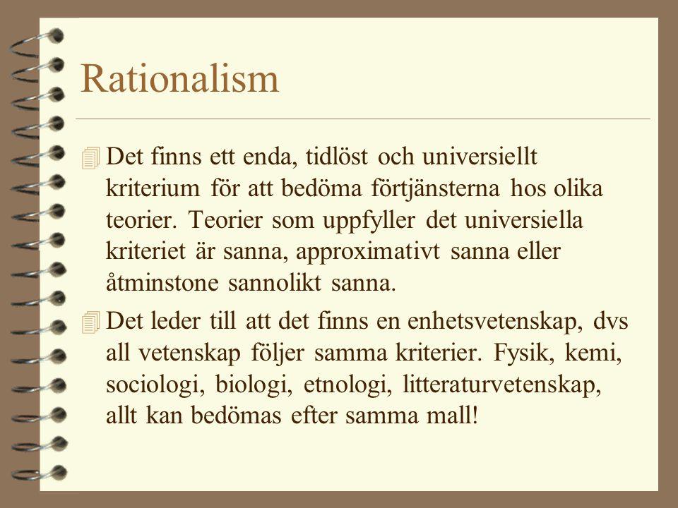 Rationalism 4 Det finns ett enda, tidlöst och universiellt kriterium för att bedöma förtjänsterna hos olika teorier. Teorier som uppfyller det univers
