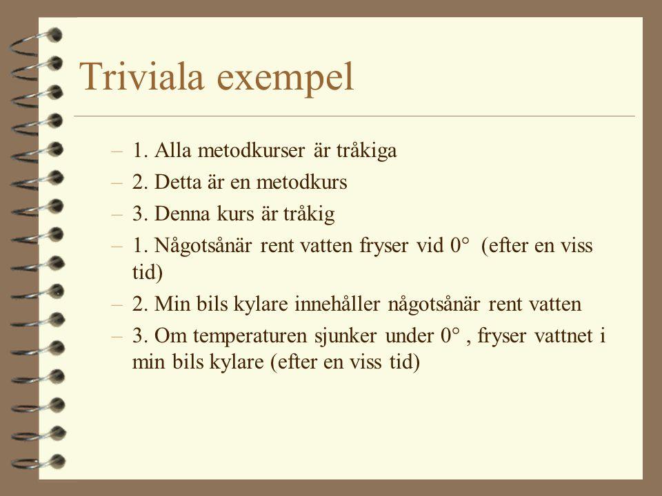 Triviala exempel –1. Alla metodkurser är tråkiga –2. Detta är en metodkurs –3. Denna kurs är tråkig –1. Någotsånär rent vatten fryser vid 0° (efter en